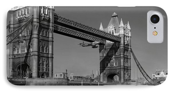 IPhone 7 Case featuring the photograph Seven Seconds - The Tower Bridge Hawker Hunter Incident Bw Versio by Gary Eason