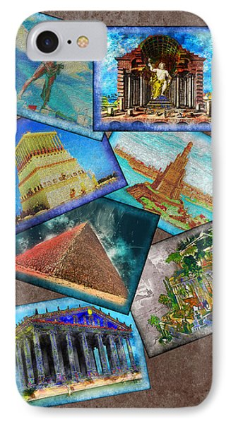 Seven Wonders Of The Ancient World IPhone Case by Edelberto Cabrera