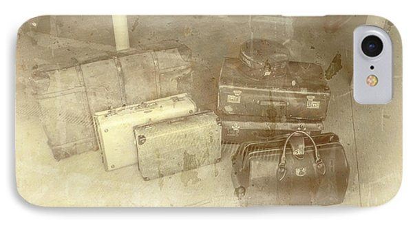 Several Vintage Bags On Floor IPhone Case by Jorgo Photography - Wall Art Gallery