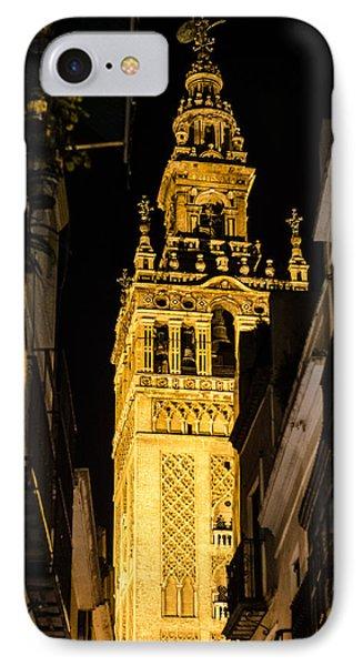 Seville - The Giralda At Night  IPhone Case by Andrea Mazzocchetti