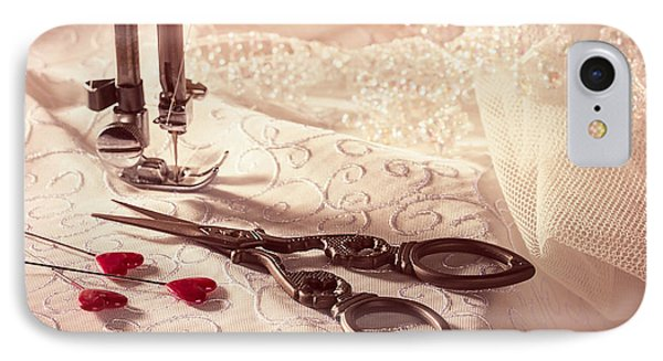 Sewing Scissors With Heart Shaped Pins IPhone Case by Amanda Elwell