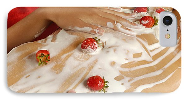 Sexy Nude Woman Body Covered With Cream And Strawberries IPhone 7 Case by Oleksiy Maksymenko