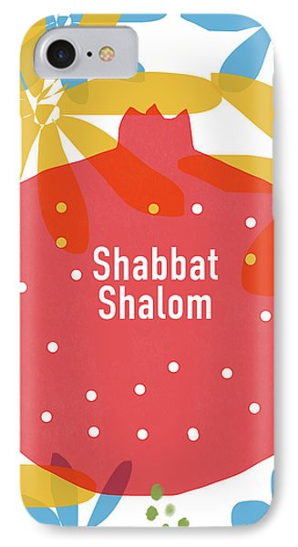 Shabbat Shalom Pomegranate- Art By Linda Woods IPhone Case by Linda Woods