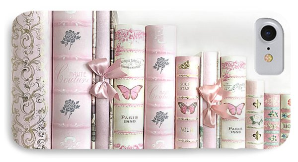 IPhone Case featuring the photograph Shabby Chic Pink Books Collection - Paris Pink Books Art Prints Home Decor by Kathy Fornal