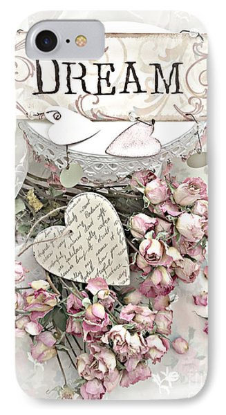 IPhone Case featuring the photograph Shabby Chic Romantic Dream Valentine Roses - Romantic Dreamy Roses Valentine Hearts by Kathy Fornal