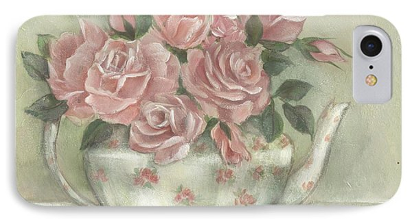 Shabby Teapot Rose Painting IPhone Case
