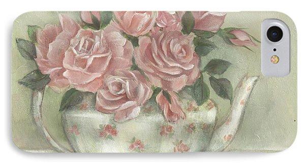 Shabby Teapot Rose Painting IPhone Case by Chris Hobel