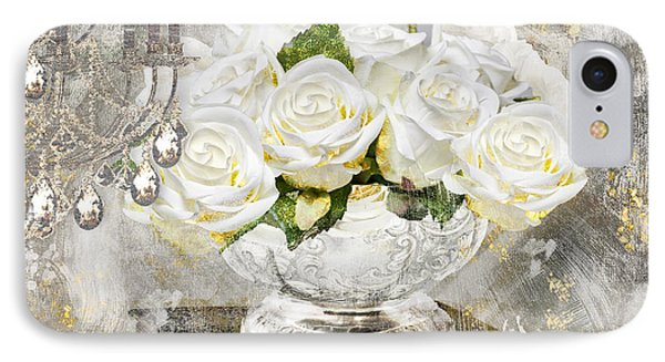 Shabby White Roses With Gold Glitter IPhone Case by Mindy Sommers