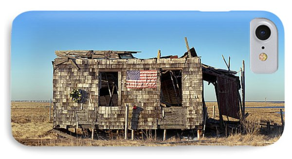 Shack With American Flag Phone Case by John Greim
