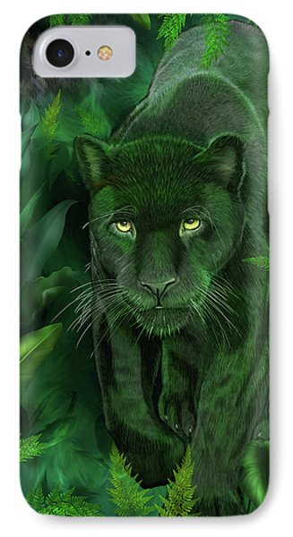 IPhone Case featuring the mixed media Shadow Of The Panther by Carol Cavalaris
