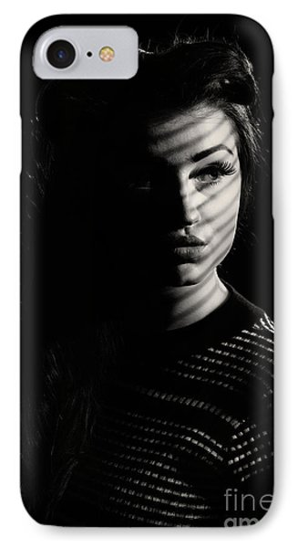 Shadow Over Womans Face IPhone Case by Amanda Elwell