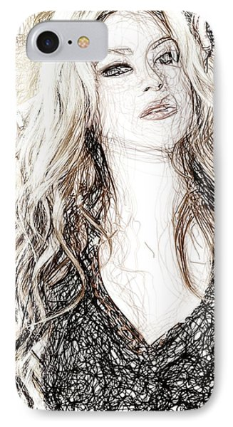 Shakira - Pencil Art IPhone 7 Case by Raina Shah