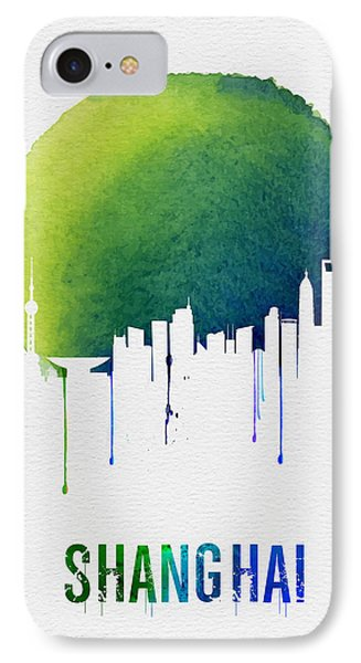 Shanghai Skyline Blue IPhone Case by Naxart Studio