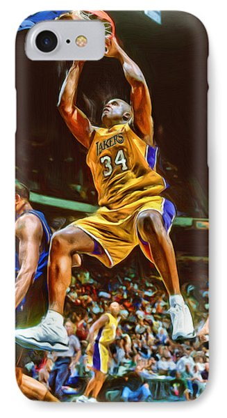 Shaquille O'neal Los Angeles Lakers Oil Art IPhone Case by Joe Hamilton