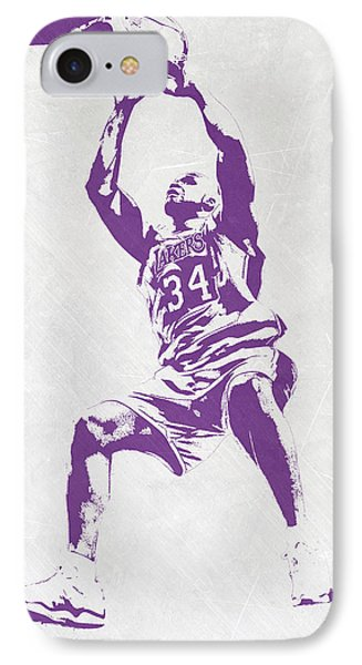 Shaquille O'neal Los Angeles Lakers Pixel Art IPhone Case by Joe Hamilton