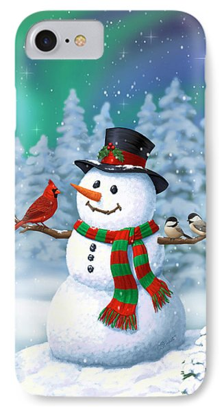 Sharing The Wonder - Christmas Snowman And Birds IPhone Case by Crista Forest