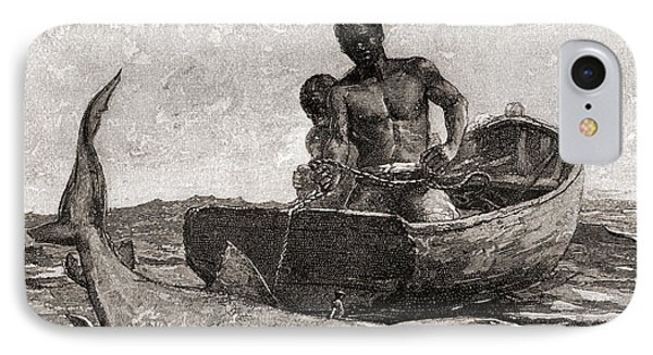Shark Fishing, Nassau Bar IPhone Case by Winslow Homer