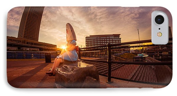 IPhone Case featuring the photograph Shark Girl Dawn - Horizontal by Chris Bordeleau