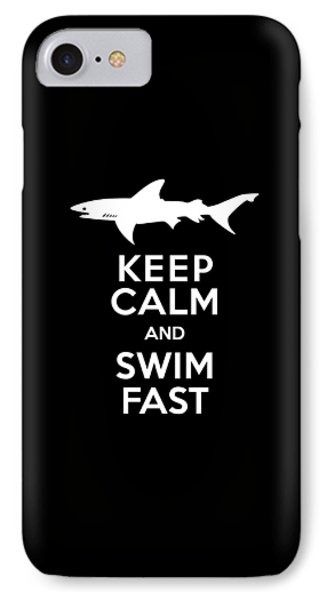 Shark Keep Calm And Swim Fast IPhone Case by Antique Images