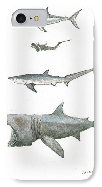 Sharks In The Deep Ocean IPhone Case by Juan Bosco