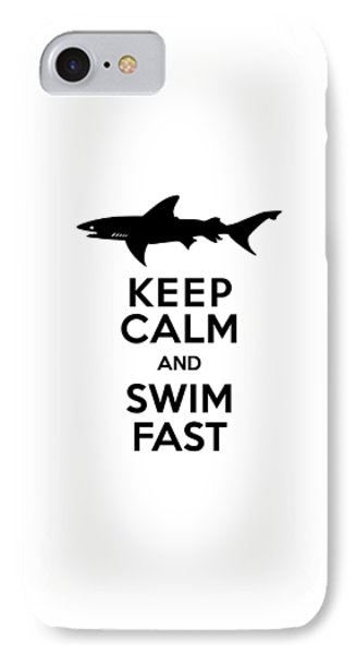 Sharks Keep Calm And Swim Fast IPhone Case by Antique Images