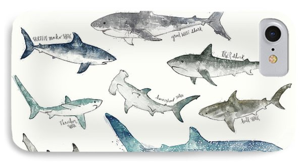 Sharks - Landscape Format IPhone Case by Amy Hamilton