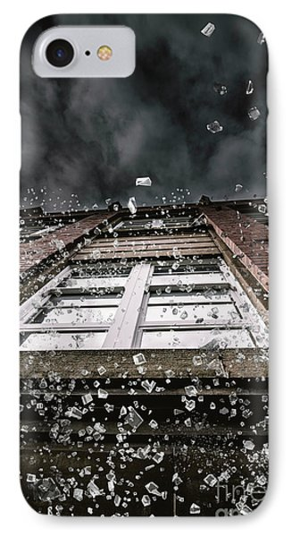 Shattering Pieces Of Glass Falling From Window IPhone Case by Jorgo Photography - Wall Art Gallery