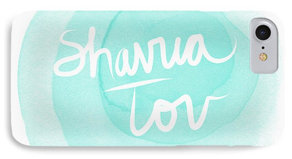 Shavua Tov Blue And White- Art By Linda Woods IPhone Case by Linda Woods