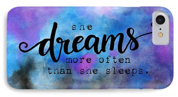 She Dreams Pillow IPhone Case by Michelle Eshleman
