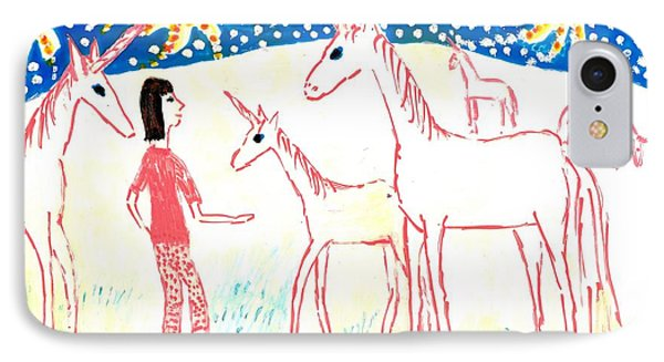 She Meets The Moon Unicorns Phone Case by Sushila Burgess