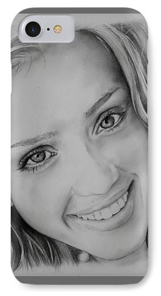 Jessica Alba iPhone 7 Case - She Smiles by Jessica Renaud