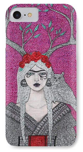IPhone Case featuring the mixed media She Wears The Crown by Natalie Briney