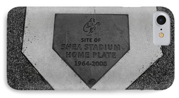 Shea Stadium Home Plate In Black And White Phone Case by Rob Hans