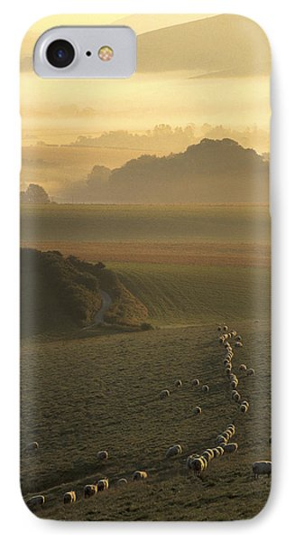 Sheep And Misty South Downs IPhone Case by Hazy Apple