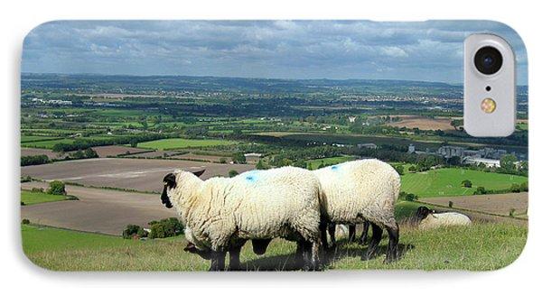 Sheep At Westbury Tor Phone Case by Kurt Van Wagner
