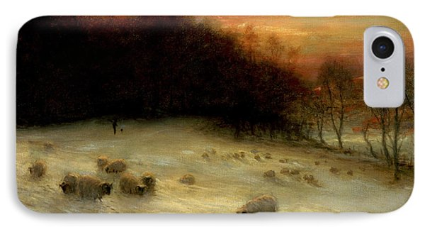 Sheep In A Winter Landscape Evening IPhone Case by Joseph Farquharson