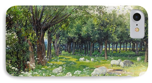 Sheep In An Orchard At Springtime IPhone Case by Louis Fairfax Muckley