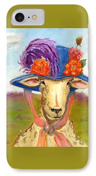 IPhone Case featuring the painting Sheep In Fancy Hat by Susan Thomas