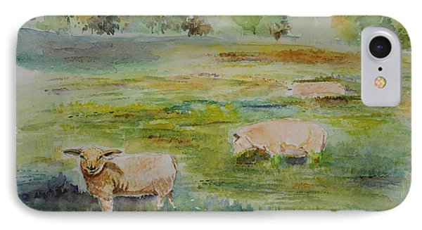 Sheep In Pasture IPhone Case by Geeta Biswas