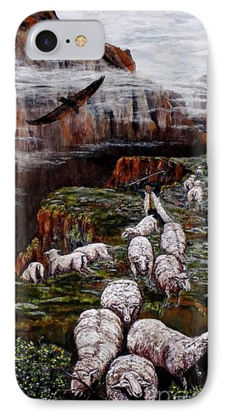 IPhone Case featuring the painting Sheep In The Mountains  by Judy Kirouac
