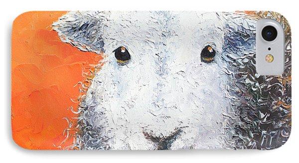 Sheep Painting On Orange Background IPhone Case by Jan Matson