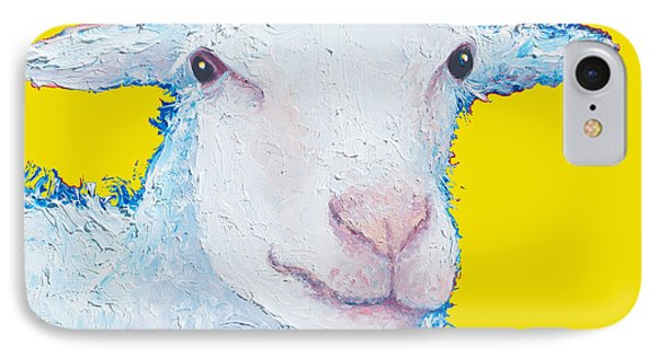 Sheep Painting On Yellow Background IPhone Case by Jan Matson