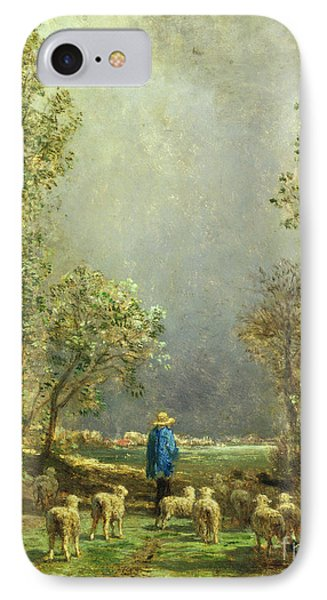 Sheep Watching A Storm IPhone Case by Constant-Emile Troyon