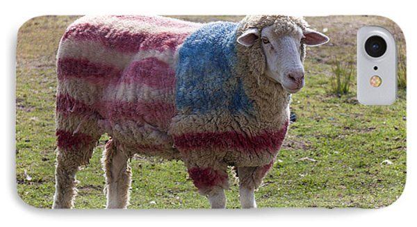 Sheep With American Flag Phone Case by Garry Gay