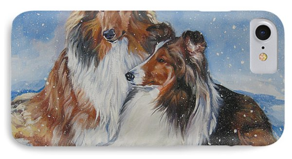 Sheltie Pair Phone Case by Lee Ann Shepard