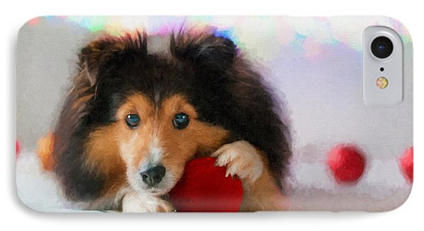 Sheltie With A Red Ball - Painted IPhone Case by Ericamaxine Price