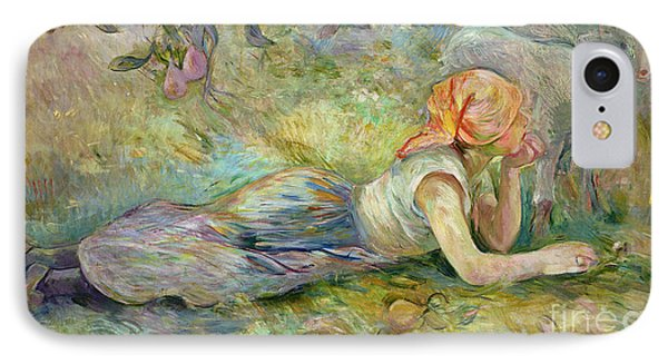 Shepherdess Resting IPhone Case by Berthe Morisot