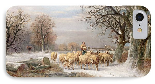 Shepherdess With Her Flock In A Winter Landscape IPhone Case by Alexis de Leeuw