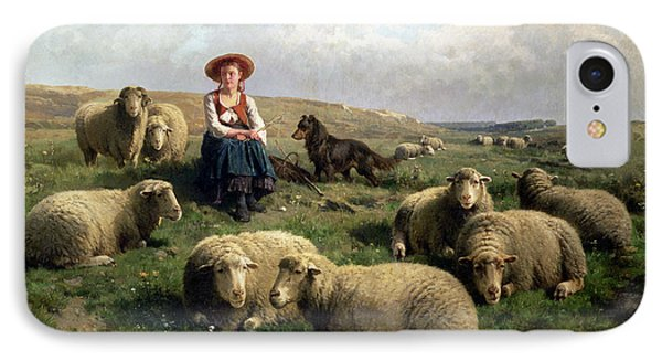 Shepherdess With Sheep In A Landscape IPhone 7 Case by C Leemputten and T Gerard