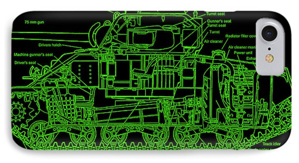 IPhone Case featuring the drawing Sherman M4a4 Tank by Robert Geary